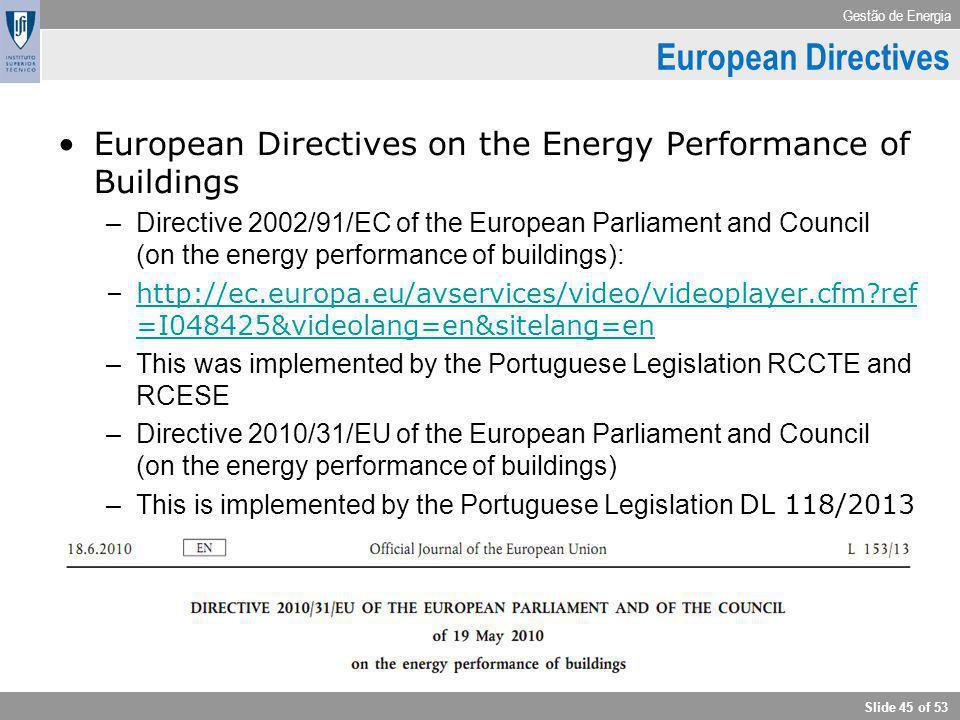 Gestão de Energia Slide 45 of 53 European Directives European Directives on the Energy Performance of Buildings –Directive 2002/91/EC of the European
