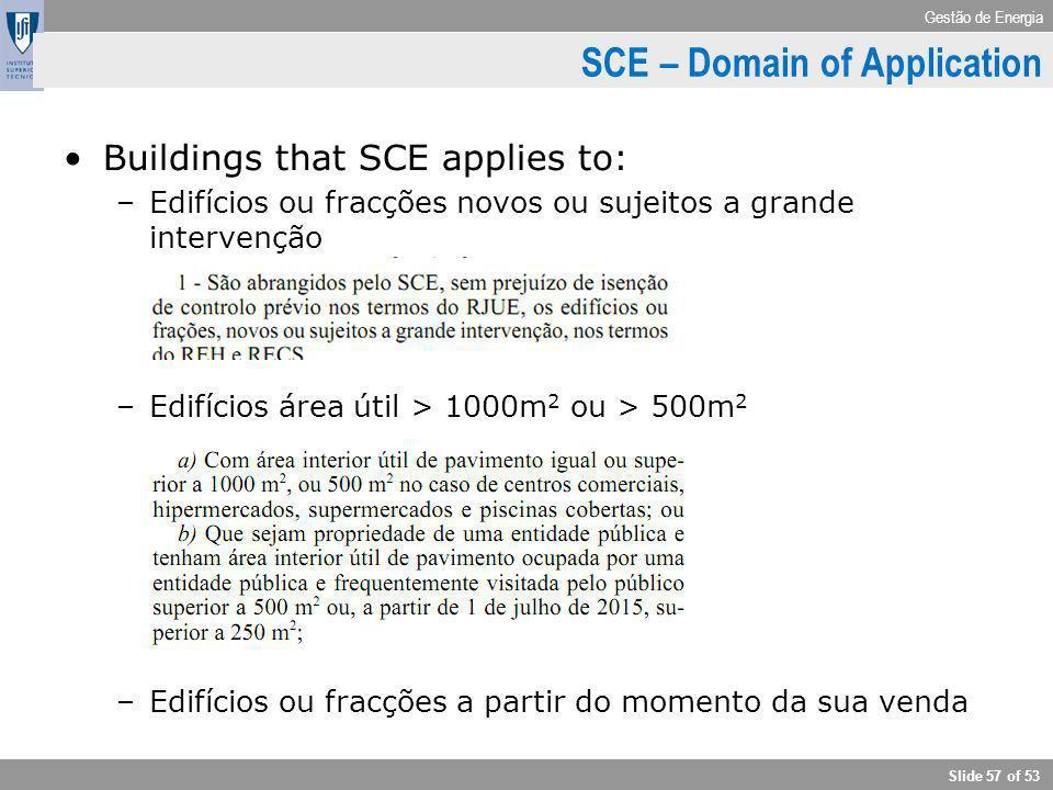 Gestão de Energia Slide 57 of 53 Buildings that SCE applies to: –Edifícios ou fracções novos ou sujeitos a grande intervenção –Edifícios área útil > 1