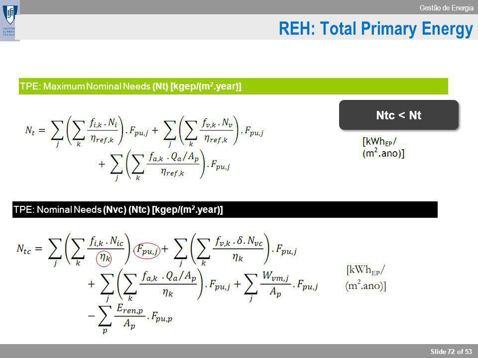 Gestão de Energia Slide 72 of 53 Cooling TPE: Maximum Nominal Needs (Nt) [kgep/(m 2.year)] TPE: Nominal Needs (Nvc) (Ntc) [kgep/(m 2.year)] REH: Total
