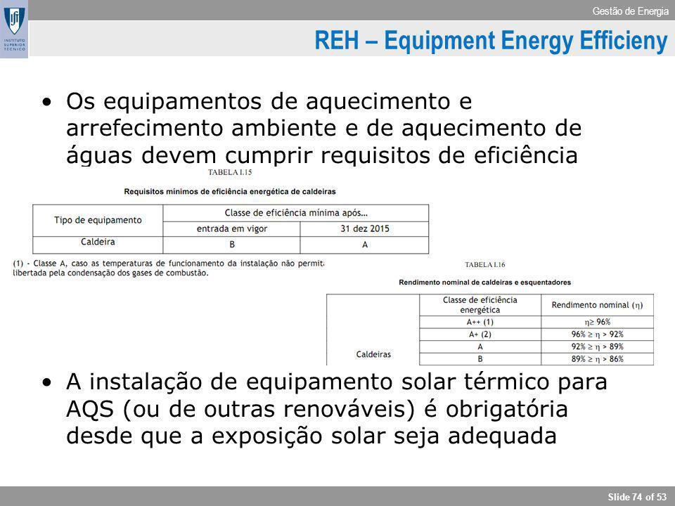 Gestão de Energia Slide 74 of 53 REH – Equipment Energy Efficieny Os equipamentos de aquecimento e arrefecimento ambiente e de aquecimento de águas de