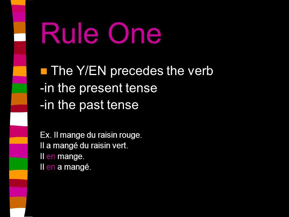 Rule Two Y/EN precedes -the infinitive of a futur proche construction Ex.