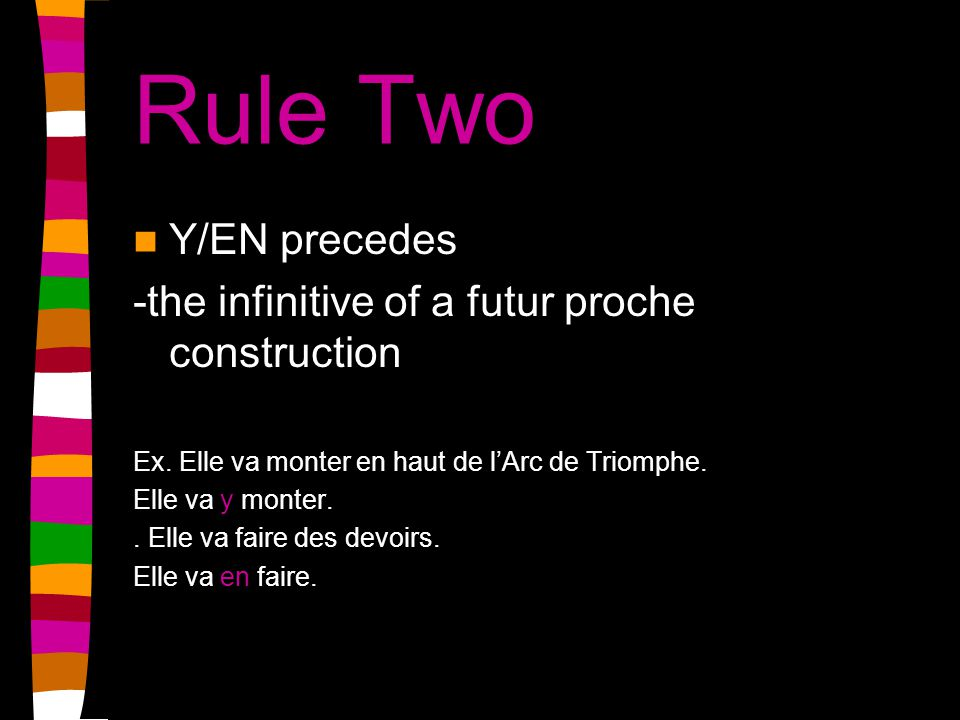 Rule Three Y/EN -attaches to the end of the verb with a hyphen for a positive command Ex.