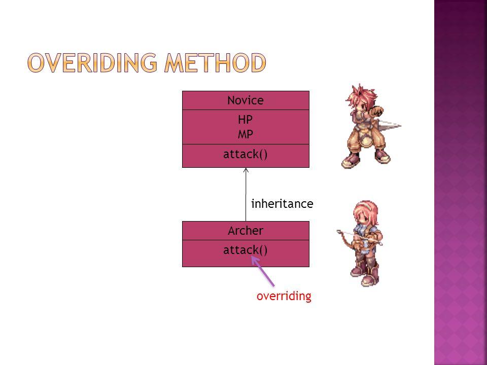 HP MP Novice attack() Archer inheritance overriding