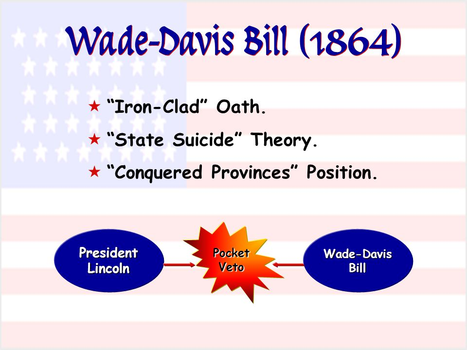 Wade-Davis Bill (1864) Iron-Clad Oath. State Suicide Theory. Conquered Provinces Position. President Lincoln Wade-Davis Bill Pocket Veto