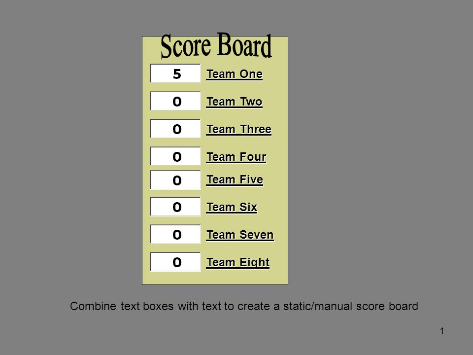 Team One Team Two Team Three Team Four Team Five Team Six Team Seven Team Eight 1 Combine text boxes with text to create a static/manual score board