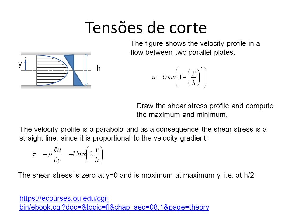 Tensões de corte y h Draw the shear stress profile and compute the maximum and minimum.