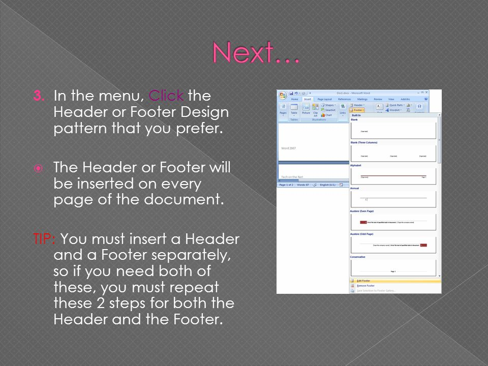 3. In the menu, Click the Header or Footer Design pattern that you prefer. The Header or Footer will be inserted on every page of the document. TIP: Y