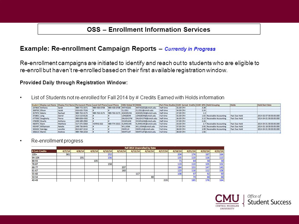 OSS – Enrollment Information Services Example: Re-enrollment Campaign Reports – Currently in Progress Re-enrollment campaigns are initiated to identif