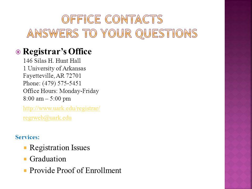 Registrars Office 146 Silas H.