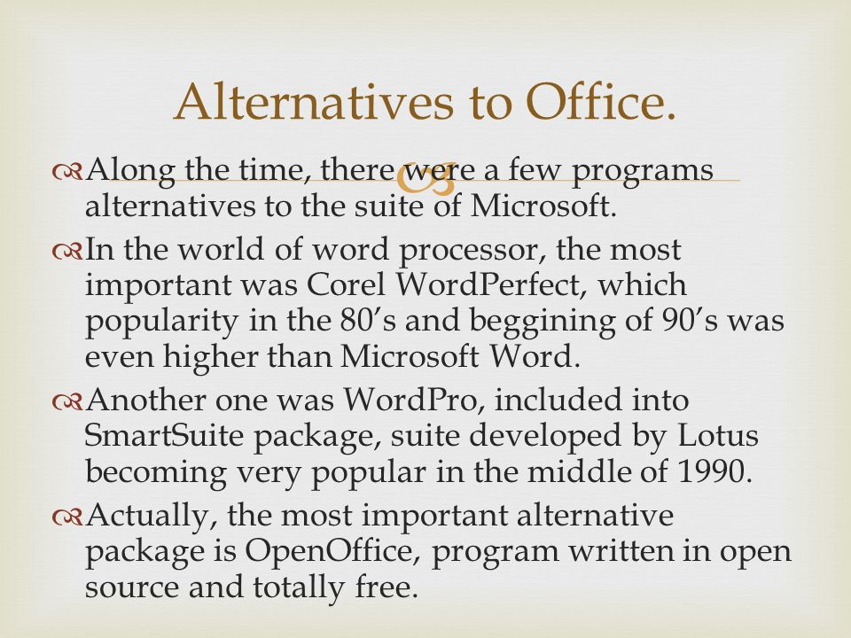 Alternatives to Office. Along the time, there were a few programs alternatives to the suite of Microsoft. In the world of word processor, the most imp