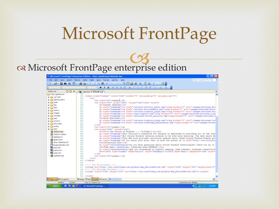 Microsoft FrontPage Microsoft FrontPage enterprise edition