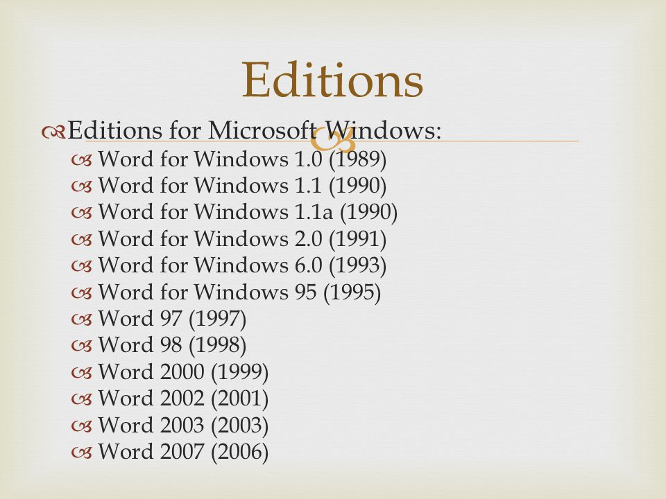Editions Editions for Microsoft Windows: Word for Windows 1.0 (1989) Word for Windows 1.1 (1990) Word for Windows 1.1a (1990) Word for Windows 2.0 (19