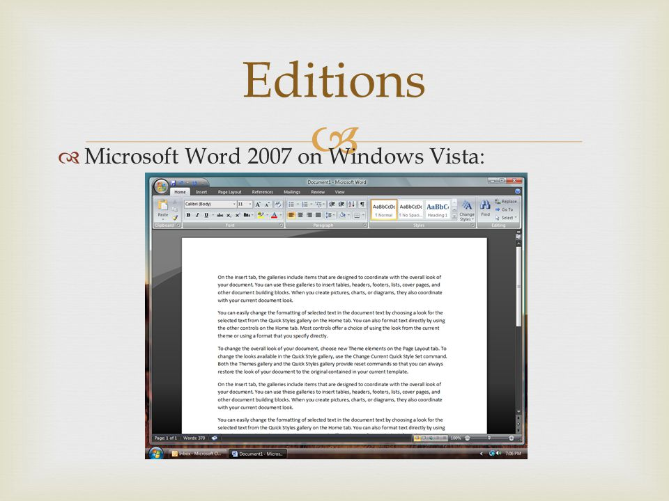 Editions Microsoft Word 2007 on Windows Vista: