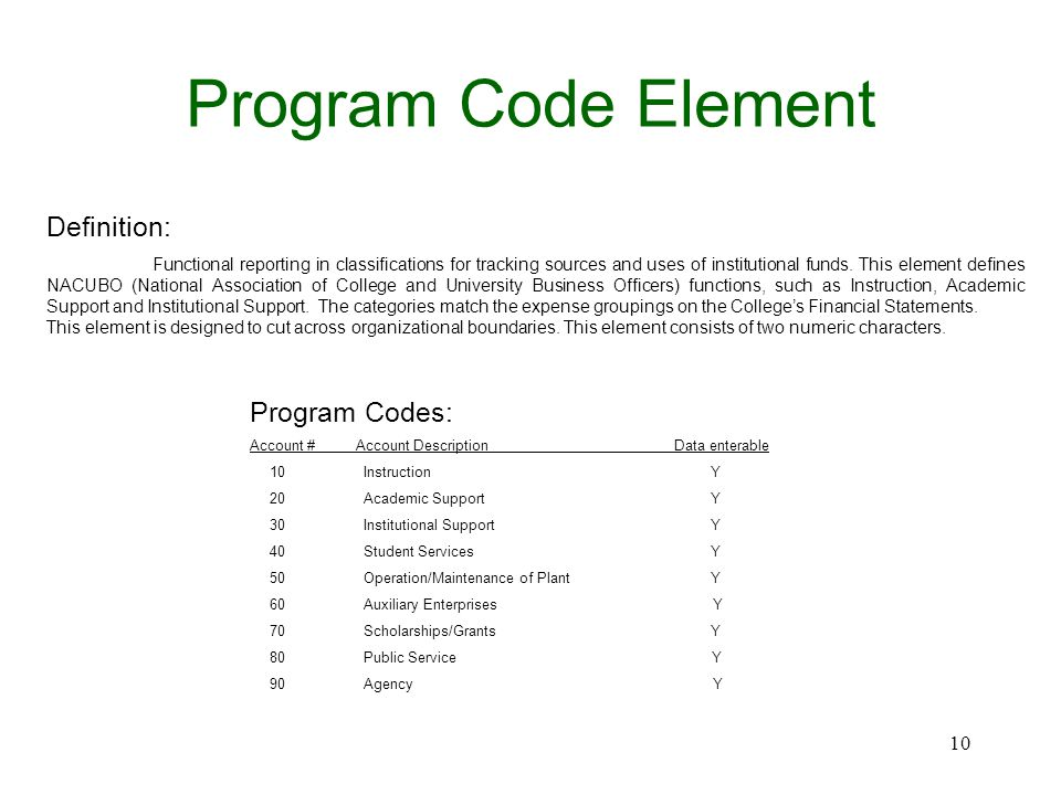 Program Code Element Definition: Functional reporting in classifications for tracking sources and uses of institutional funds. This element defines NA