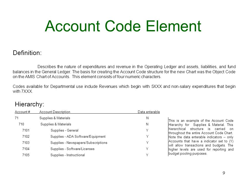 Account Code Element Definition: Describes the nature of expenditures and revenue in the Operating Ledger and assets, liabilities, and fund balances in the General Ledger.