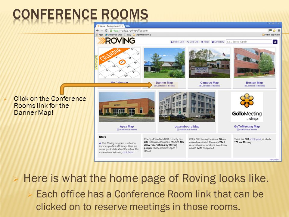 Here is what the home page of Roving looks like.