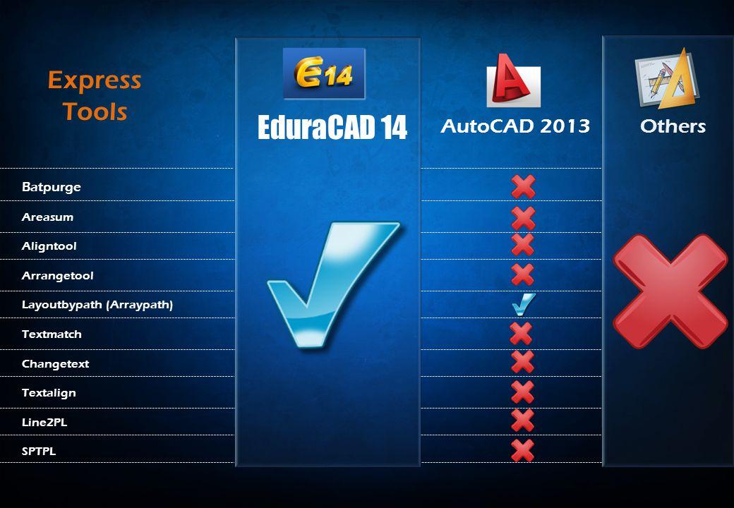 AutoCAD 2013Others Batpurge Areasum Aligntool Arrangetool Layoutbypath (Arraypath) Textmatch Changetext Textalign Line2PL SPTPL Express Tools EduraCAD 14