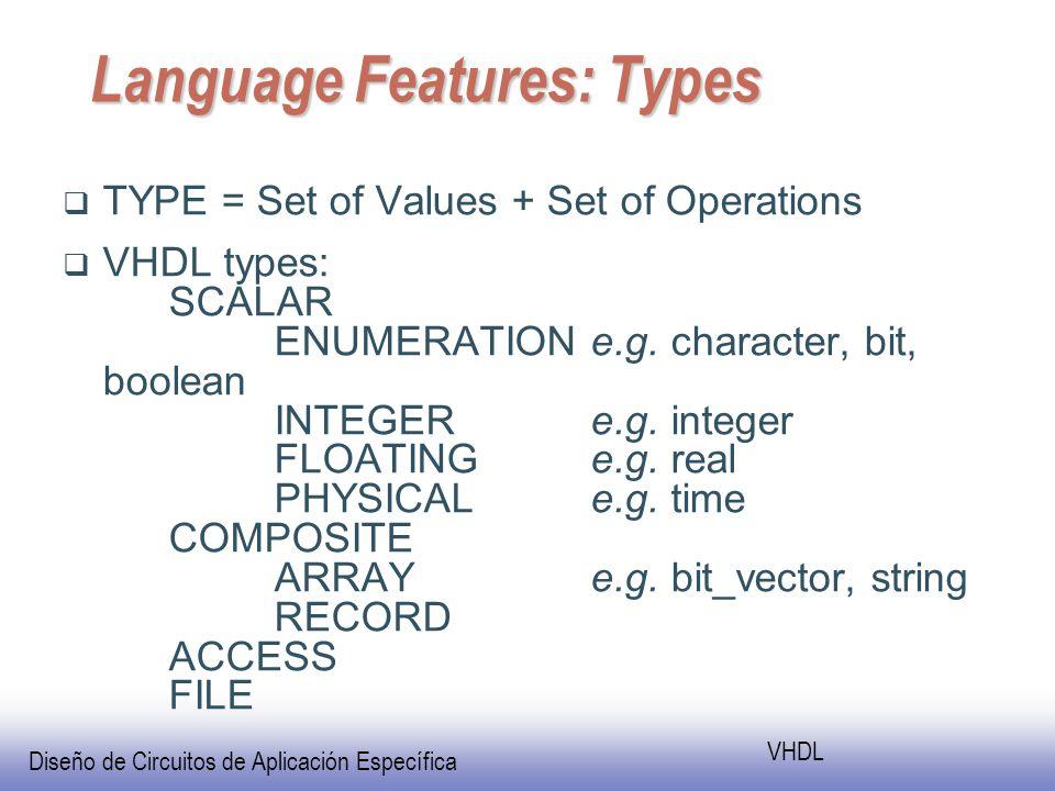 Diseño de Circuitos de Aplicación Específica VHDL Language Features: Types TYPE = Set of Values + Set of Operations VHDL types: SCALAR ENUMERATIONe.g.