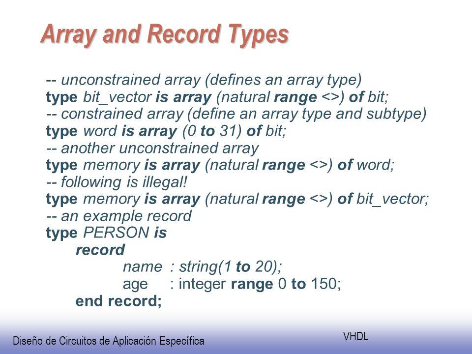 Diseño de Circuitos de Aplicación Específica VHDL Array and Record Types -- unconstrained array (defines an array type) type bit_vector is array (natural range <>) of bit; -- constrained array (define an array type and subtype) type word is array (0 to 31) of bit; -- another unconstrained array type memory is array (natural range <>) of word; -- following is illegal.