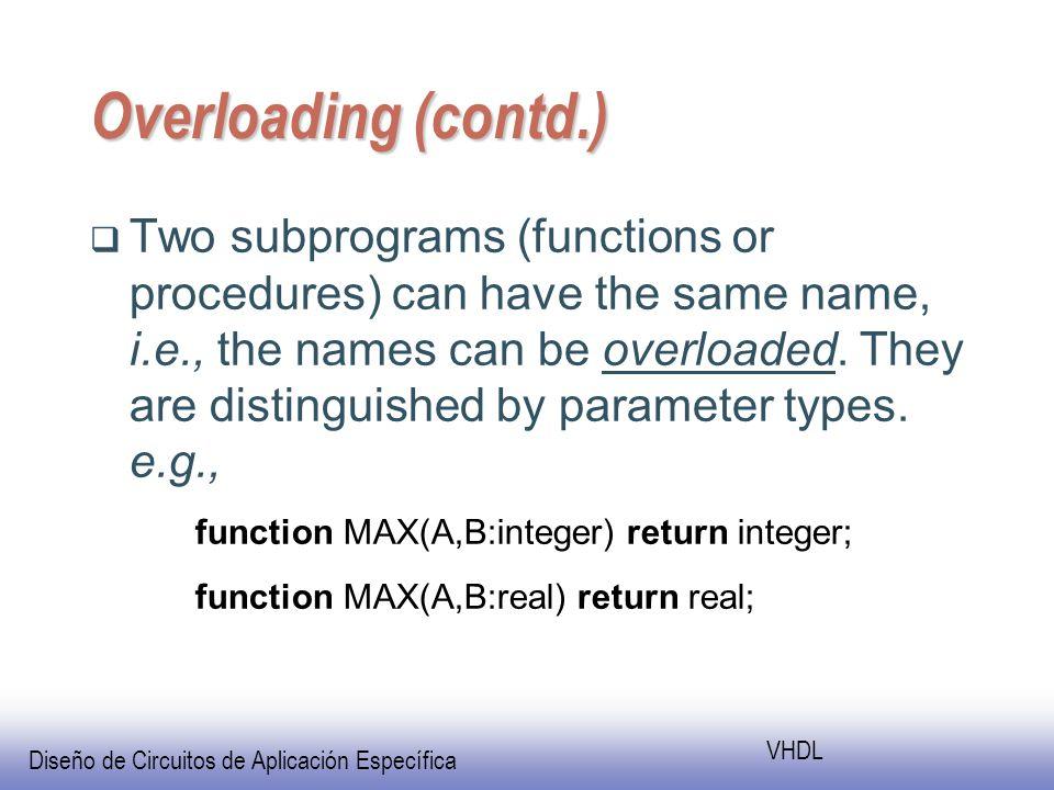 Diseño de Circuitos de Aplicación Específica VHDL Overloading (contd.) Two subprograms (functions or procedures) can have the same name, i.e., the names can be overloaded.
