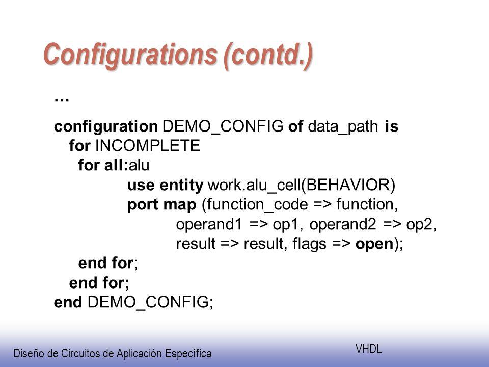 Diseño de Circuitos de Aplicación Específica VHDL Configurations (contd.) … configuration DEMO_CONFIG of data_path is for INCOMPLETE for all:alu use entity work.alu_cell(BEHAVIOR) port map (function_code => function, operand1 => op1, operand2 => op2, result => result, flags => open); end for; end for; end DEMO_CONFIG;