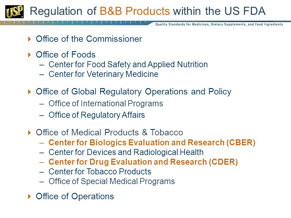 Office of the Commissioner Office of Foods –Center for Food Safety and Applied Nutrition –Center for Veterinary Medicine Office of Global Regulatory Operations and Policy –Office of International Programs –Office of Regulatory Affairs Office of Medical Products & Tobacco –Center for Biologics Evaluation and Research (CBER) –Center for Devices and Radiological Health –Center for Drug Evaluation and Research (CDER) –Center for Tobacco Products –Office of Special Medical Programs Office of Operations Regulation of B&B Products within the US FDA