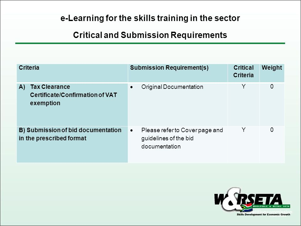 Critical and Submission Requirements e-Learning for the skills training in the sector CriteriaSubmission Requirement(s) Critical Criteria Weight A)Tax Clearance Certificate/Confirmation of VAT exemption Original Documentation Y0 B) Submission of bid documentation in the prescribed format Please refer to Cover page and guidelines of the bid documentation Y0