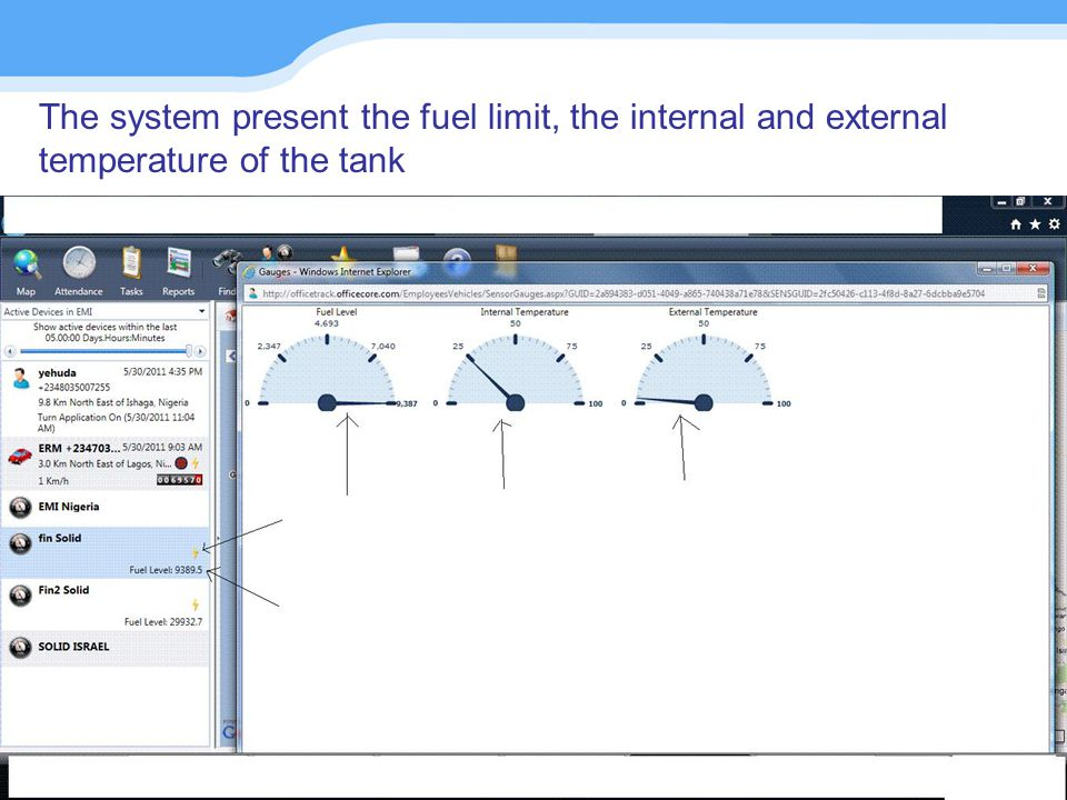 The system present the fuel limit, the internal and external temperature of the tank