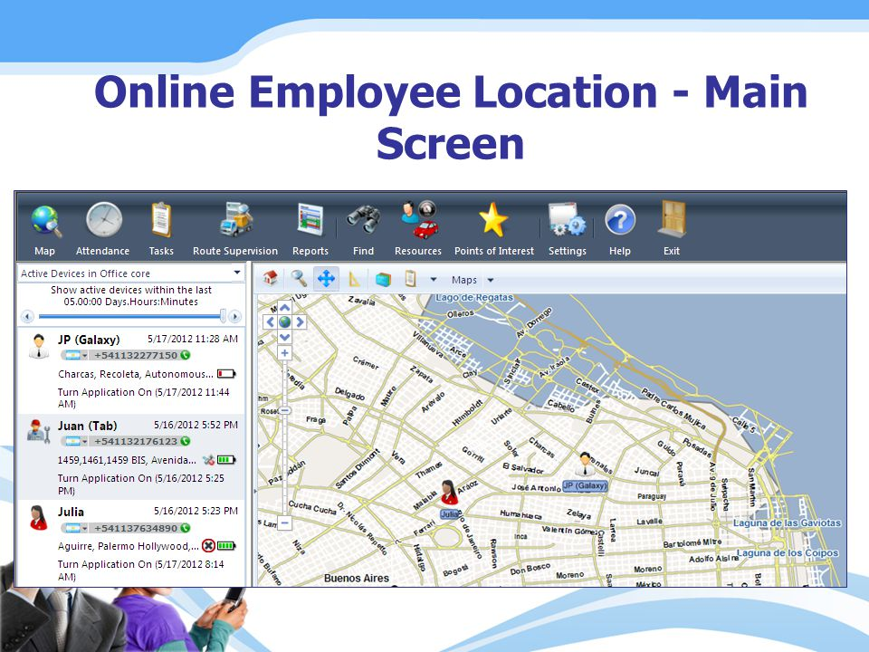 Online Employee Location - Main Screen