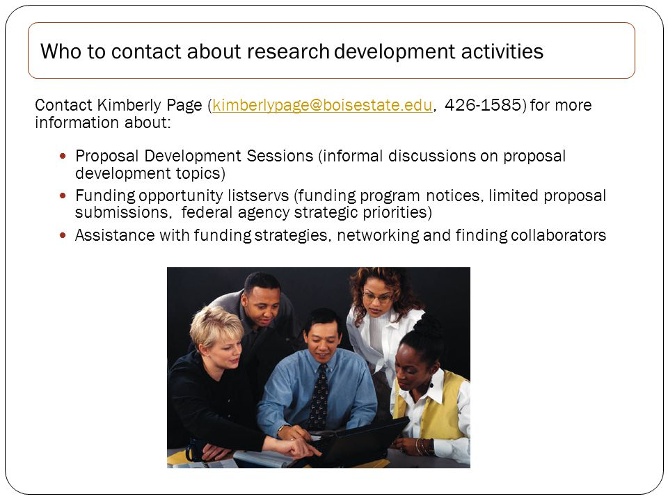 Lisa Jordan Contract Administrator 426-1425, lisajordan1@boisestate.edu Who to contact about award negotiation and acceptance Refer to the OSP Quick Guide at Research/Office of Sponsored Programs http://web1.boisestate.edu/research/osp/quick-guide.shtml Or contact: Jennifer Vance Operations Supervisor 426-5733, jennifervance@boisestate.edu Who to contact about post award administration