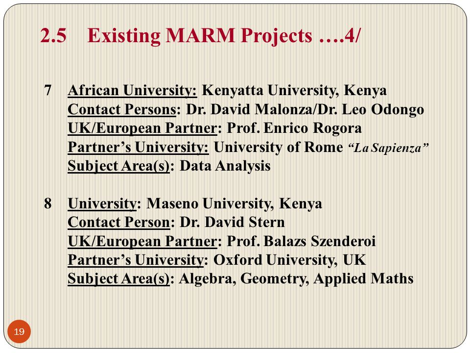 2.5Existing MARM Projects ….4/ 7African University: Kenyatta University, Kenya Contact Persons: Dr.