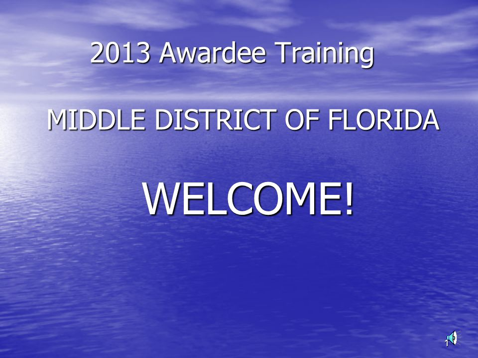 1 2013 Awardee Training MIDDLE DISTRICT OF FLORIDA 2013 Awardee Training MIDDLE DISTRICT OF FLORIDA WELCOME.
