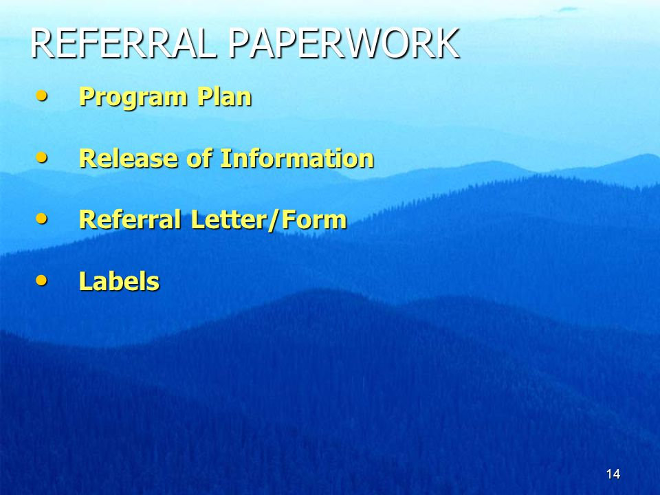14 REFERRAL PAPERWORK Program Plan Program Plan Release of Information Release of Information Referral Letter/Form Referral Letter/Form Labels Labels
