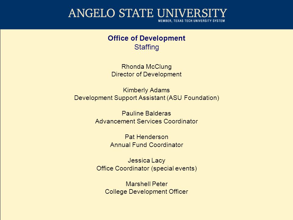 Office of Development Critical Success Factors Raise money for the university from private sources.