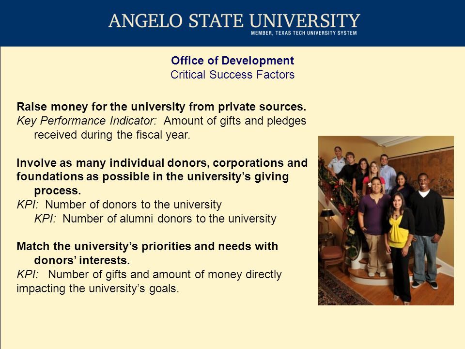 Office of Development Duties IDENTIFY alumni and friends interested in the success of ASU Research Faculty and Staff INVOLVE alumni and friends in ASU Angelo State University magazine Committees and opportunities to be on campus Events in San Angelo and Texas INVEST in ASU Annual Fund Campaigns Major and planned gift efforts