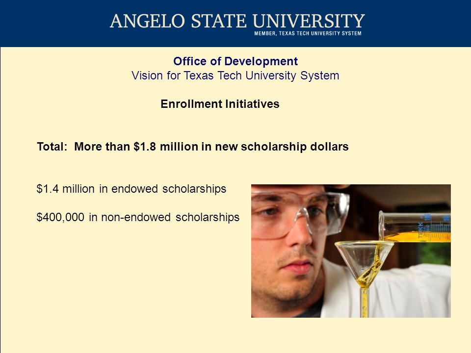 Office of Development Vision for Texas Tech University System Enrollment Initiatives Total: More than $1.8 million in new scholarship dollars $1.4 million in endowed scholarships $400,000 in non-endowed scholarships