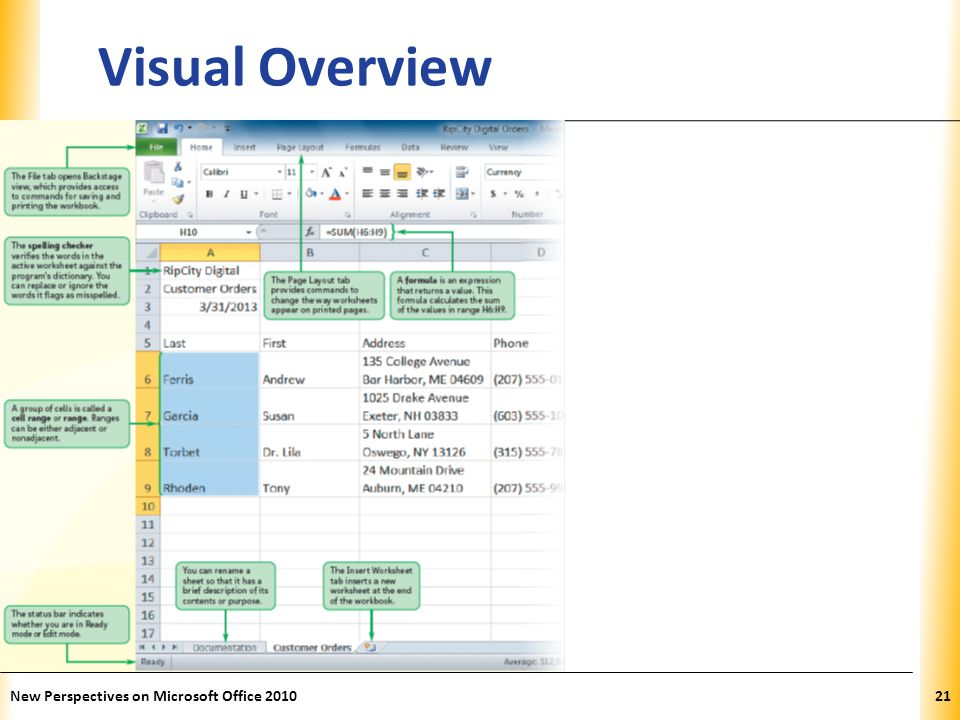 XP New Perspectives on Microsoft Office 201021 Visual Overview