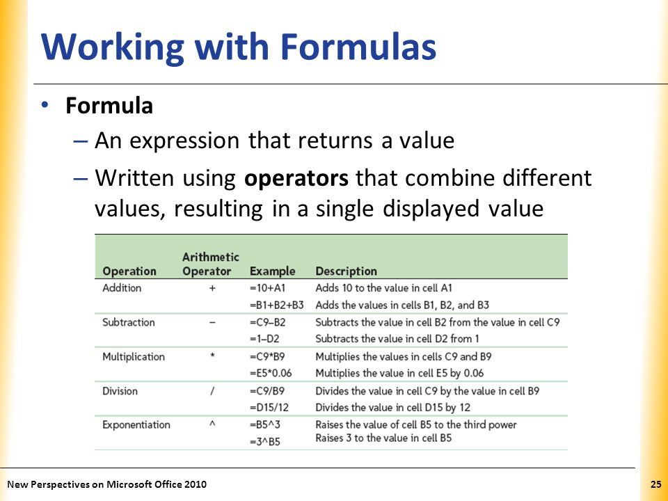 XP Working with Formulas Formula – An expression that returns a value – Written using operators that combine different values, resulting in a single displayed value New Perspectives on Microsoft Office 201025