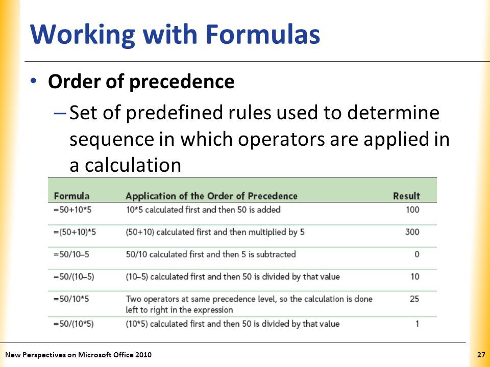 XP Working with Formulas Order of precedence – Set of predefined rules used to determine sequence in which operators are applied in a calculation New Perspectives on Microsoft Office 201027