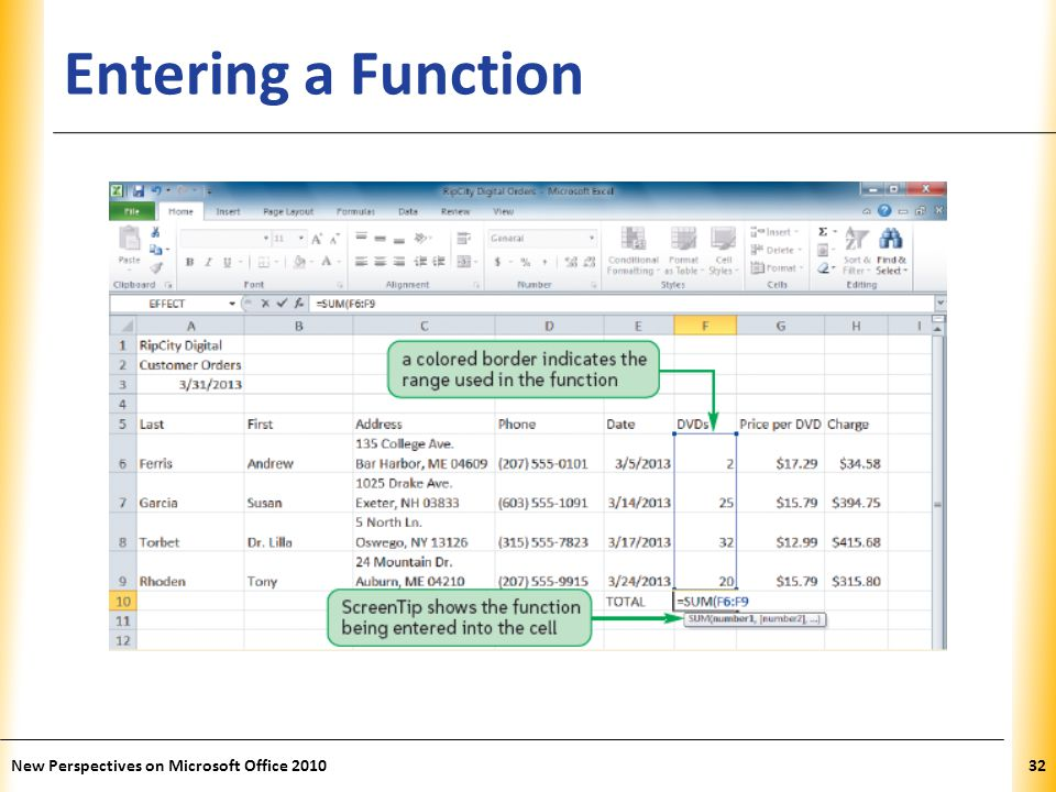 XP Entering a Function New Perspectives on Microsoft Office 201032