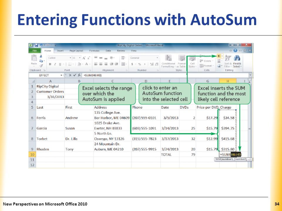 XP Entering Functions with AutoSum New Perspectives on Microsoft Office 201034