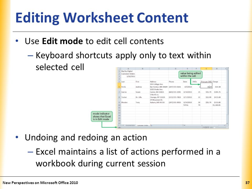 XP Editing Worksheet Content Use Edit mode to edit cell contents – Keyboard shortcuts apply only to text within selected cell Undoing and redoing an action – Excel maintains a list of actions performed in a workbook during current session New Perspectives on Microsoft Office 201037