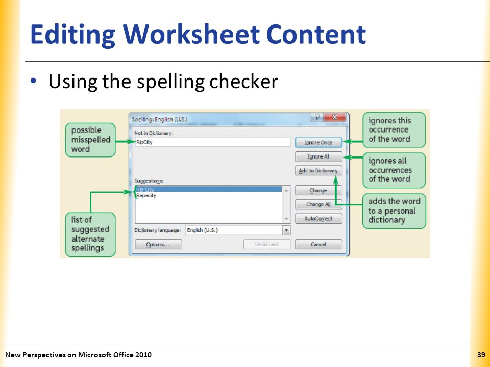 XP Editing Worksheet Content Using the spelling checker New Perspectives on Microsoft Office 201039