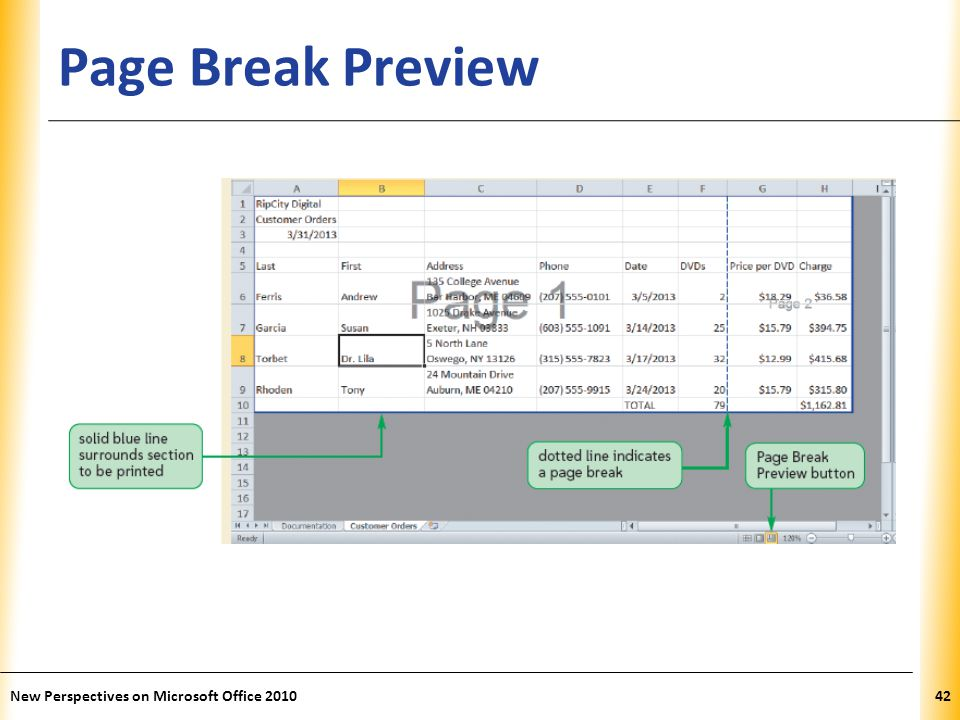 XP Page Break Preview New Perspectives on Microsoft Office 201042