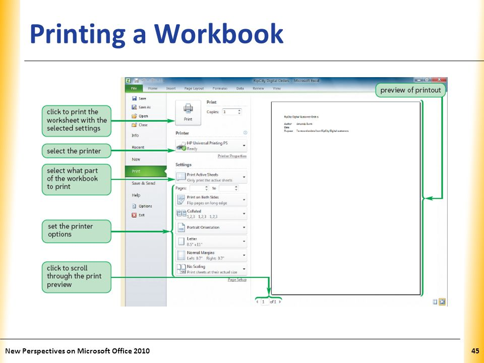 XP Printing a Workbook New Perspectives on Microsoft Office 201045