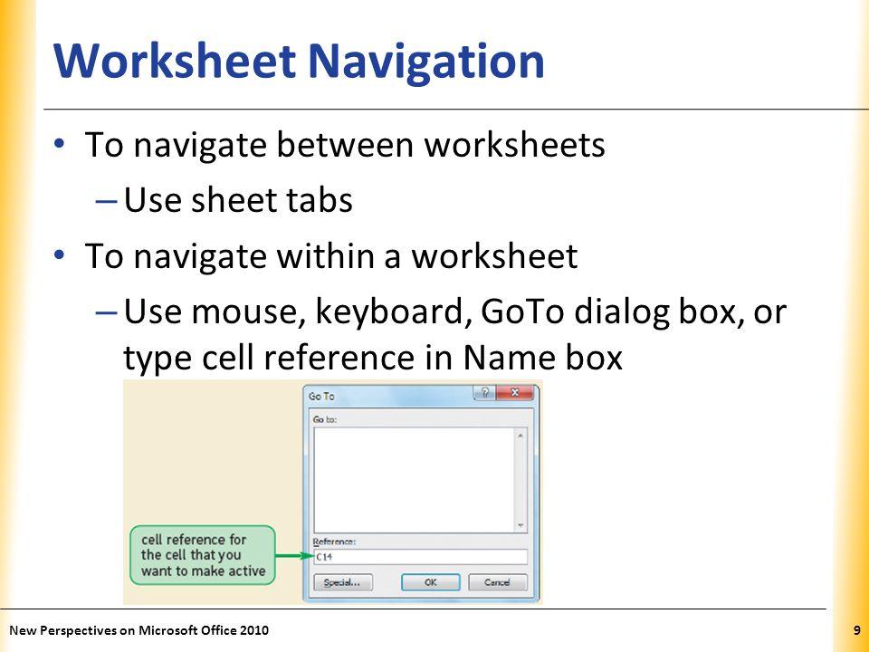 XP Worksheet Navigation Keys New Perspectives on Microsoft Office 201010