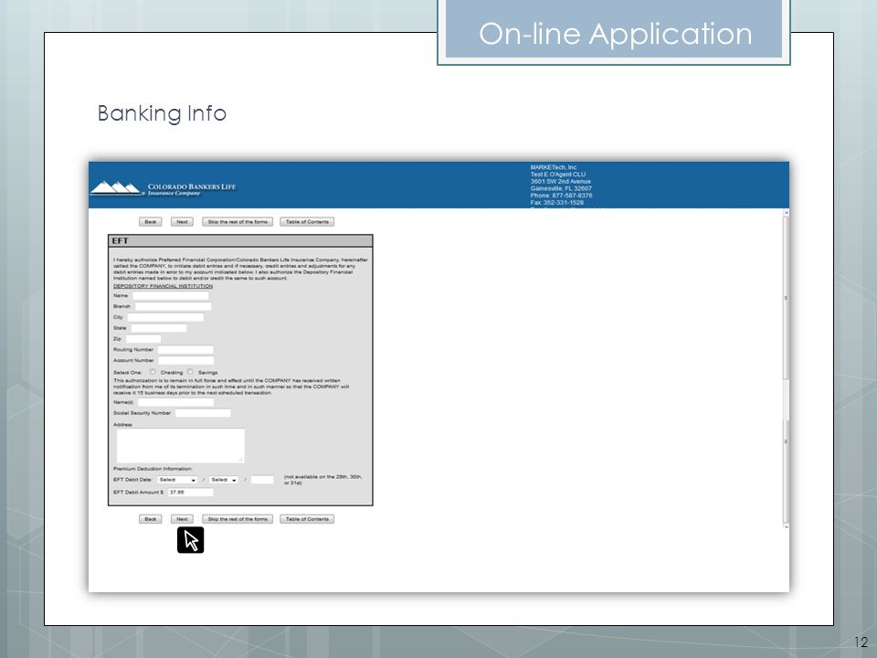 On-line Application Banking Info 12