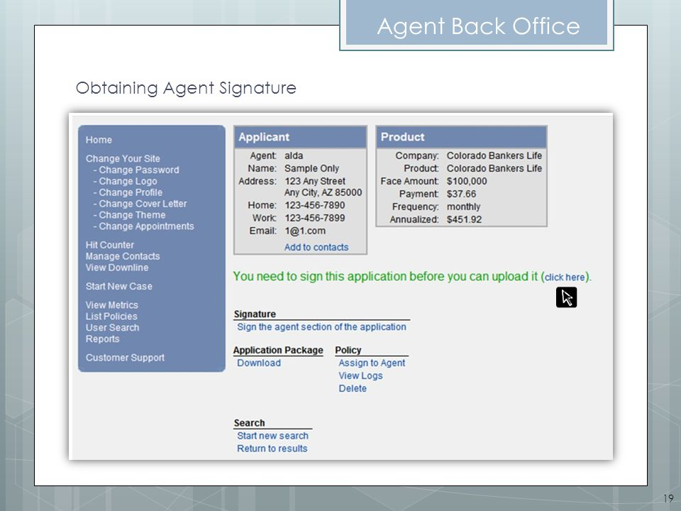 Agent Back Office Obtaining Agent Signature 19