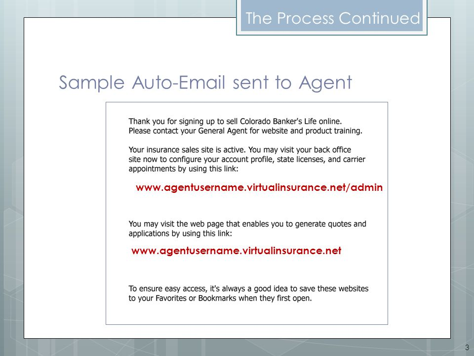 Sample Auto-Email sent to Agent The Process Continued 3 www.agentusername.virtualinsurance.net/admin www.agentusername.virtualinsurance.net