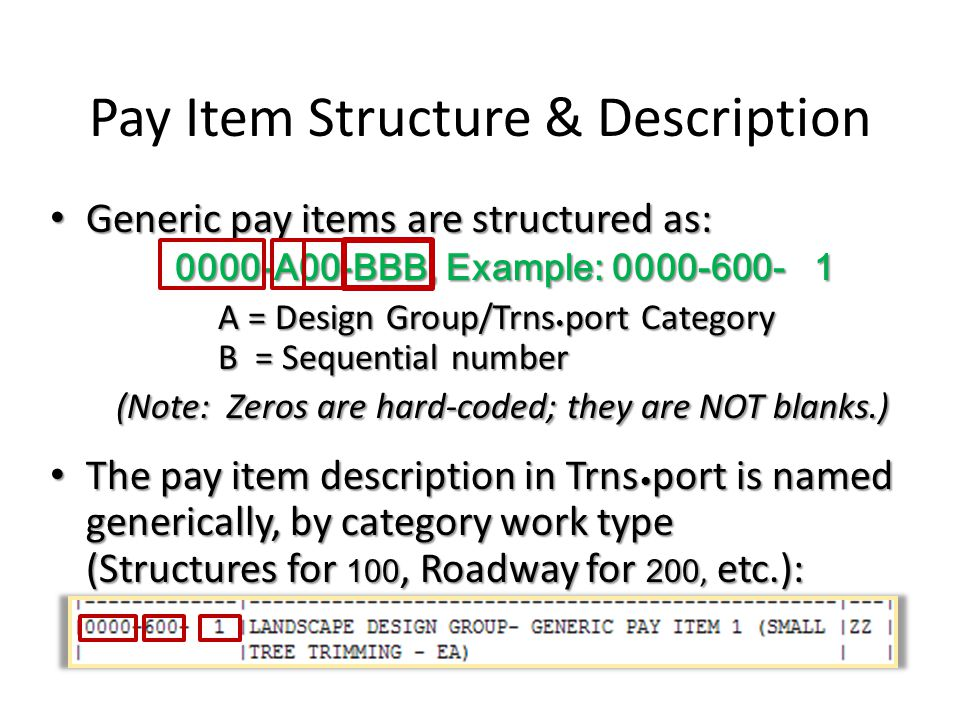 Pay Item Structure & Description Generic pay items are structured as: Generic pay items are structured as: 0000-A00-BBB, Example: 0000-600- 1 0000-A00-BBB, Example: 0000-600- 1 A = Design Group/Trns port Category B = Sequential number (Note: Zeros are hard-coded; they are NOT blanks.) The pay item description in Trns port is named generically, by category work type (Structures for 100, Roadway for 200, etc.): The pay item description in Trns port is named generically, by category work type (Structures for 100, Roadway for 200, etc.):